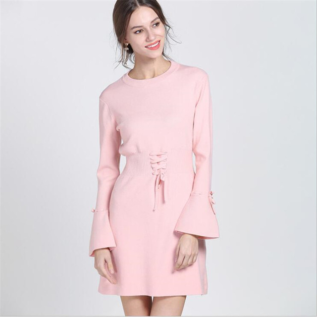 New 2018 Autumn Winter For Pink Dress Women Knitted Party Dress A-Line Mini Womens dresses Flare Sleeve Collect waist Sexy Dress