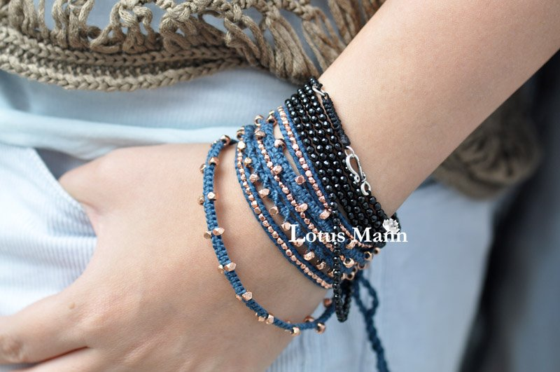 Lotus mann Black stone 10 Wrap Bracelet (166cm) fish stone lotus area rug