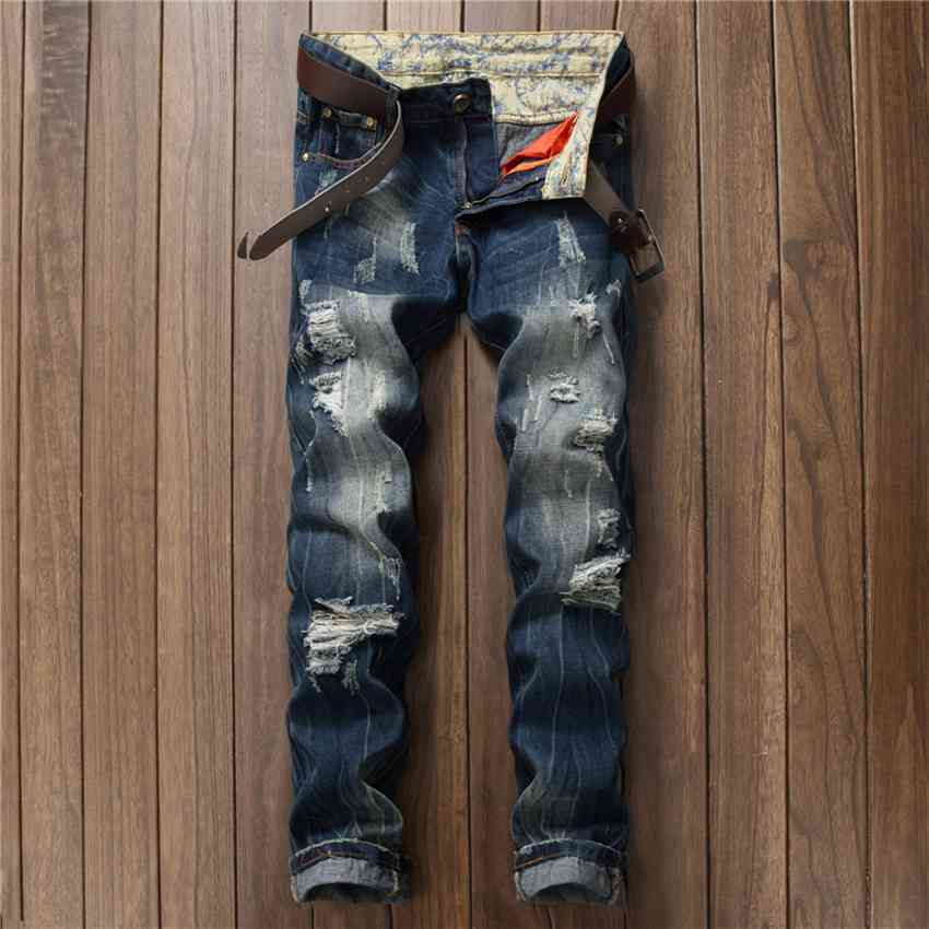 #1522 2017 Ripped jeans for men Biker Skinny jean homme Distressed jeans Vaqueros hombre Mens designer clothes Quality jeans