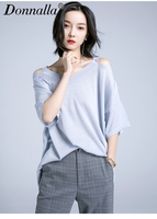 Donnalla Women T Shirts Fasion Casual Batwing Half Sleeve V Neck Solid Knitted T Shirt New