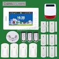 APP de Control 868 MHz Sistema de Alarma Antirrobo Sistema de Alarme GSM Pantalla Táctil en Color de 7 pulgadas w Sensor de Humo y Solar Sirena exterior