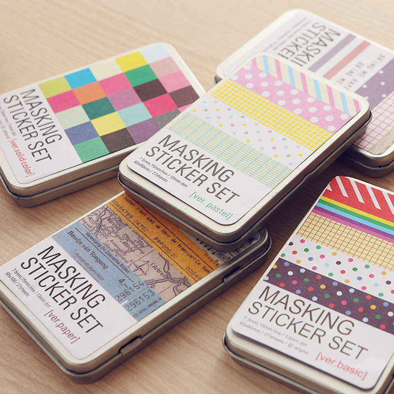 South Korea Creative Stationery DIY Decorative Stickers Color Hand Books Notepad Loose-leaf Planner Sticker Tide Tin Accessories