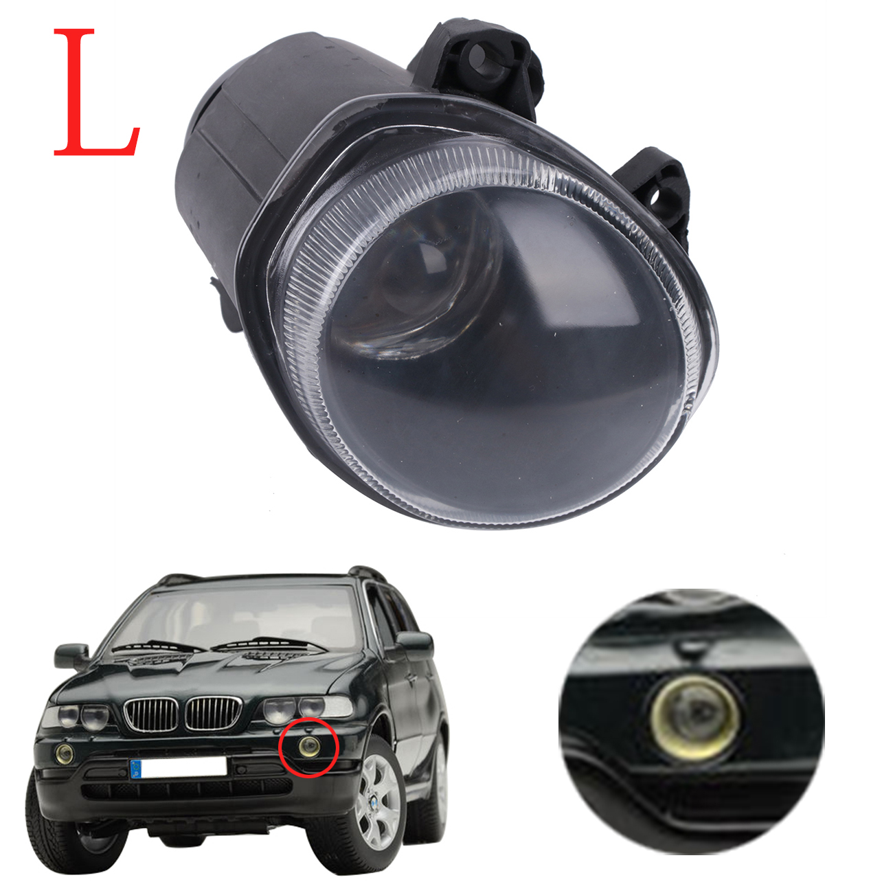 ФОТО OEM 63178409025 Left Front Fog Light Clear Driving Lamp Foglamp Cover For BMW X5 E53 2000 2001 2002 Auto Car Stling #W087-L