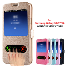 For Samsung Note 5 Note 4 Dual View Window Flip Leather Cover Case For Samsung Galaxy S9 S8 Plus S6 S7 edge A5 A7 J5 J7 Case mooncase samsung galaxy note 4 edge чехол для view leather flip pouch bracket back cover pink
