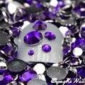 5000 Violeta pçs/saco Tamanhos Mistos Dicas Nail Art Cristal Glitter Acrílico Pedrinhas Moda Ferramentas Unhas DIY Decoração Stamping