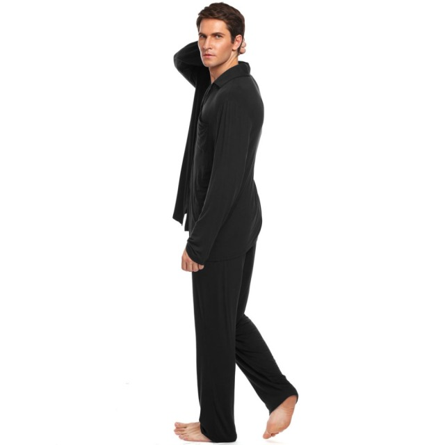 Ekouaer Mens Pajamas Set Nightwear Long Sleeve Solid Loose Sleepwear Set Broadcloth Turn Down Collar Loungewear M-3XL