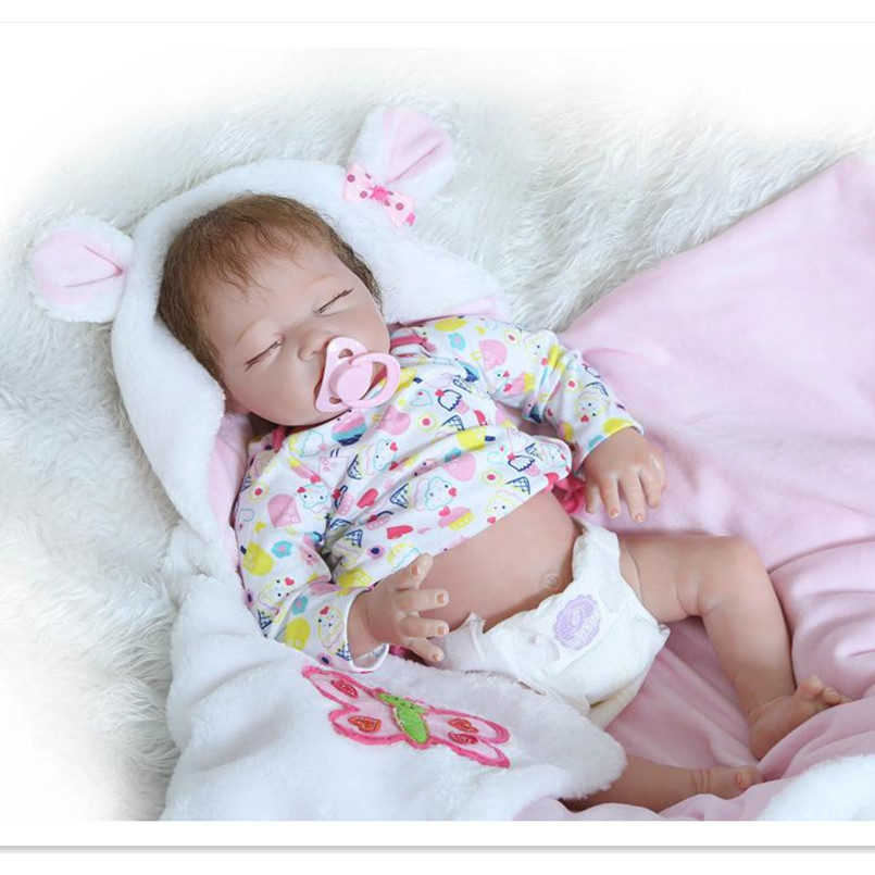 20 Inch Silicone Reborn Dolls Sleeping Baby Bonecas with Clothes,Real Looking Newborn-Baby-Doll Toys for Girls Children 20 real reborn babies bonecas newborn baby dolls with clothes lovely reborn silicone baby dolls educational toys for children