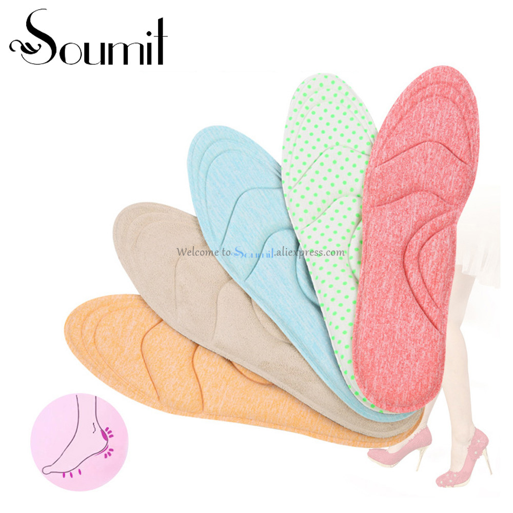 Soumit 4D Sponge Comfortable Sweat-Absorbent  Heel Insoles Breathable Massaging Heel Inserts Pads Arch Support Insoles for Women soumit new style breathable lightweight leather insole genuine soft cowhide sweat absorbent insoles for men and women shoes pads