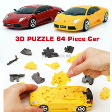 Car Puzzle 3D 64 Piece Car CRYSTAL puzzles 1:32 DIY Model Building Kits Funny Vehicle  Painted Yellow and Red Educational toys