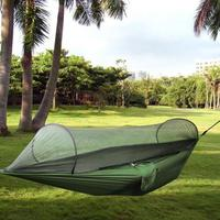 Outdoor Parachute Cloth Fabric Hammock Portable Camping Hammock With Mosquito Nets Single Person Hammock Swing