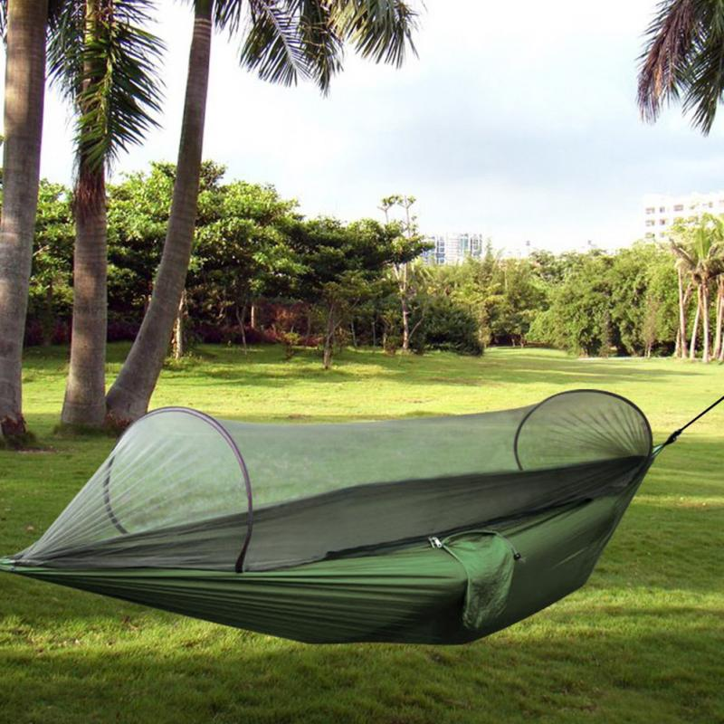 Outdoor Parachute Cloth Fabric Hammock Portable Camping Hammock With Mosquito Nets Single Person Hammock Swing furniture size hanging sleeping bed parachute nylon fabric outdoor camping hammocks double person portable hammock swing bed