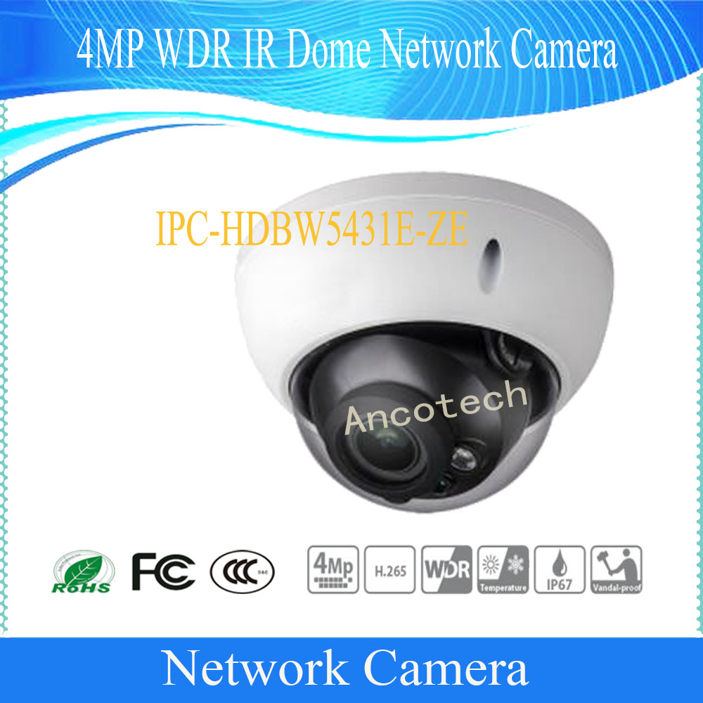 Free Shipping DAHUA Security IP Camera CCTV 4MP WDR IR Dome Network Camera IP67 IK10 With POE+ Without Logo IPC-HDBW5431E-ZE free shipping dh security ip camera 2mp 1080p ir mini dome network camera ip67 ik10 with poe without logo ipc hdbw4231f as