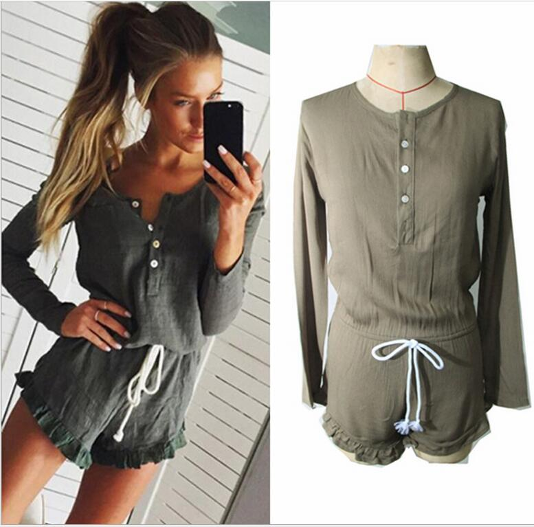 Womens Fashion Tooling Long sleeve Jumpsuits Casual Buttons Retro Shorts Shirt-Jumpsuits for wholesale