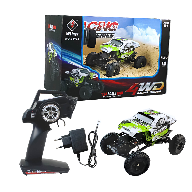 все цены на WL Toys 2.4G RC Car 1:24 radio electric four-wheel drive vehicle climing 24438 4WD Remte control Dirt Bike car Slower climber