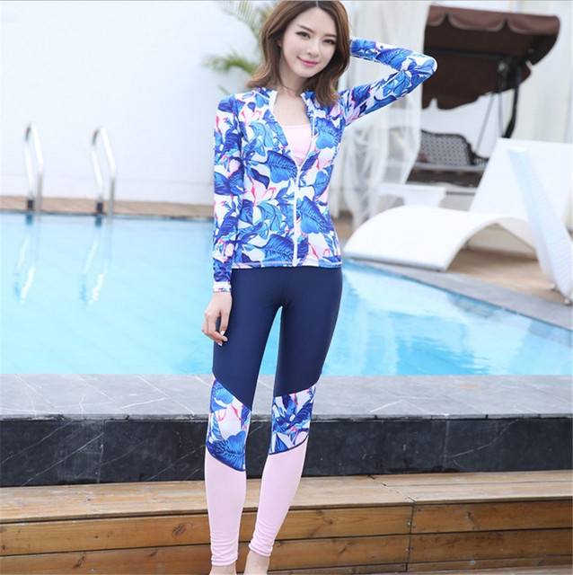f9d4408e8bb54 Korean female clothing snorkeling diving suit body sunscreen clothing  jellyfish surf wear swimsuits have long sleeved pants suit