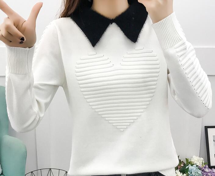 Frauen Winter Pullover Drehen-unten Kragen Frauen Gestrickte Pullover Langarm Casual Boden Jumper Pullover