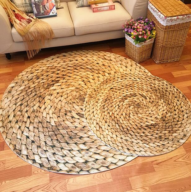 Japanese 3D Printed Straw Round Area Rugs Carpet Kids Room Bathing Rug Bedroom Mat Non-slip 60*60 80*80 100*100 Computer Mat
