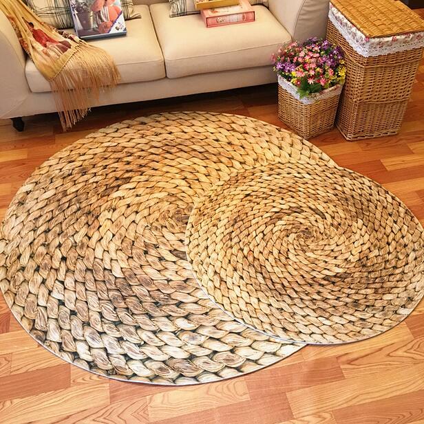 Japanese 3D Printed Straw Round Area Rugs Carpet Kids Room Bathing Rug Bedroom Mat Non-slip 60*60 80*80 100*100 Computer Mat