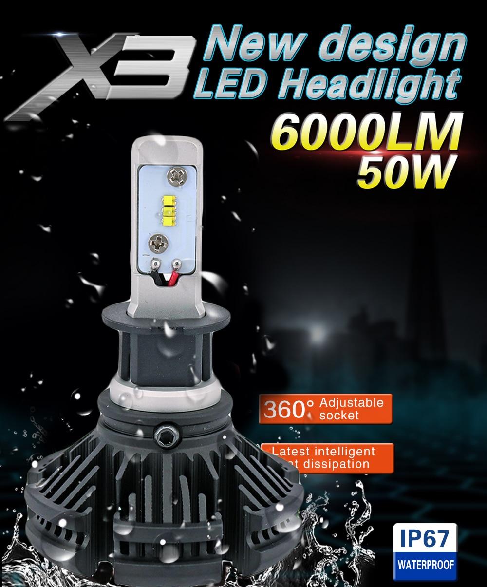 X3 H1 H3 880 881 Avtomobil LED işıq fənərləri 50W 12000LM ZES - Avtomobil işıqları - Fotoqrafiya 2