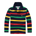 Marca de moda de Calidad Superior Muchacho de Los Niños Camiseta de la Ropa Superior de Manga Larga A Rayas de Algodón de Los Niños Camisetas 2-14 años