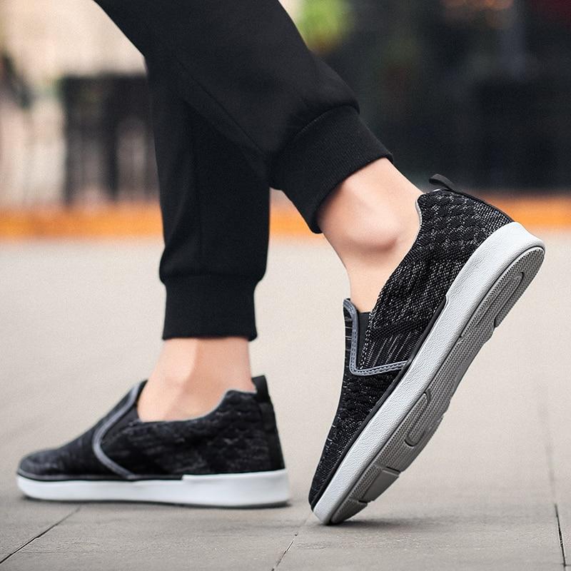 CYYTL Performance Men's Loafers Soft Flyknit Slip-On Walking Shoes Spring Casual Male Sneakers Zapatos de Hombre Erkek Ayakkabi (36)