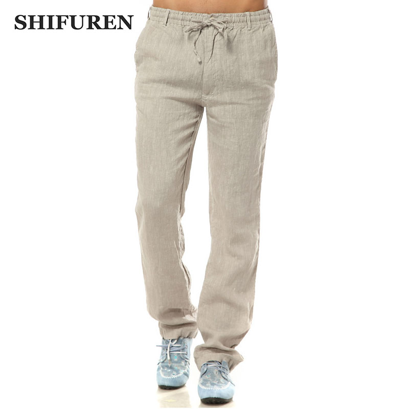 SHIFUREN Summer Linen Pants Men Elastic Waist Loose Fit Breathable Pure Linen Causal Straight Pants Lightweight Male Trousers
