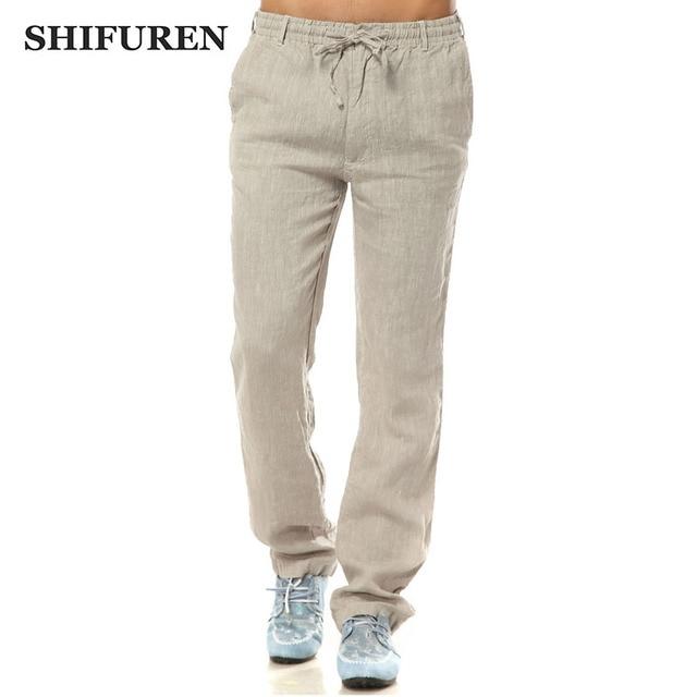 SHIFUREN Summer Linen Pants Men Elastic Waist Loose Fit Breathable Pure Linen Causal Straight Pants Lightweight Male Trousers
