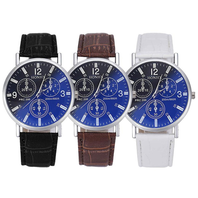 Timezone#301 Luxury Fashion Watches Men Male Relogio Masculino Crocodile Faux Leather Band Mens Analog Watch Watches