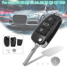 3 Botões do Controle Remoto Key Fob Caso Shell Com Bateria Para Audi A3 A4 A6 A8 Q7 TT 1997-2018 2017 2016 2015 2014 2013 2012 2011 2010