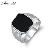 AINOUSHI Fashion 925 Sterling Silver Men Wedding Engagement Ring Black Solitiare Square Male Silver Birthday Party Ring Jewelry