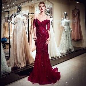 Image 4 - גבוהה באיכות חרוזים ערב שמלות ארוך 2019 בת ים כבוי כתף ערב שמלות חיג אב נשף שמלת טול פורמליות שמלת Vestido