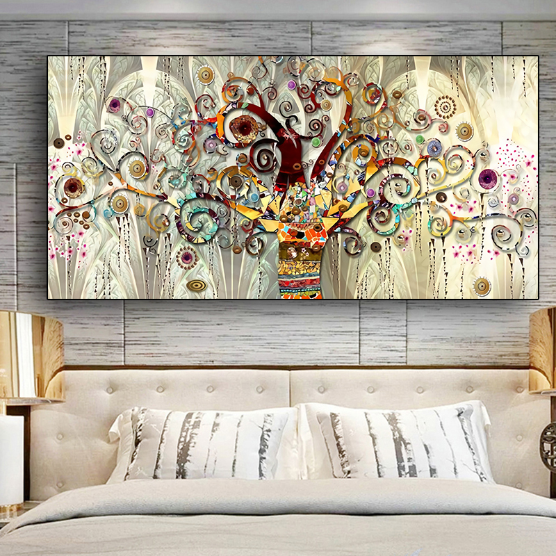 Tree Of Life By Gustav Klimt Landscape Wall Art Canvas Scandinavian Posters And Prints Modern Wall Art Picture For Living Room