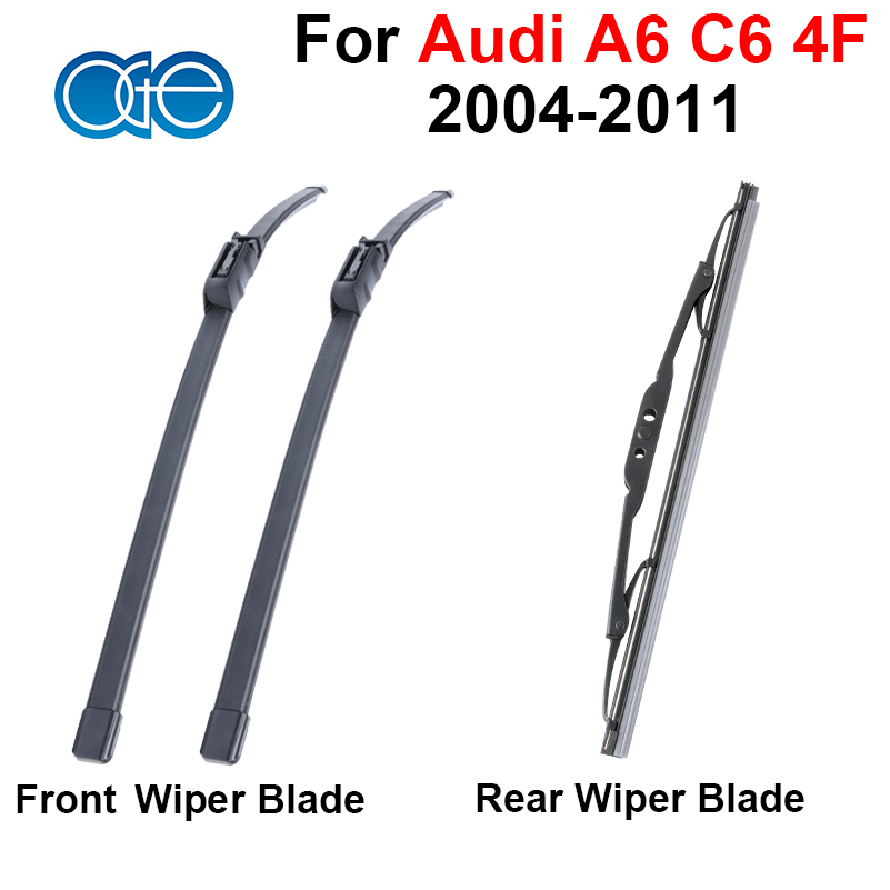 купить Front & Rear Wiper Blade For Audi A6 C6 4F 2004-2011 High Quality Silicone Rubber Window Windscreen Windshield Wipers по цене 978.48 рублей