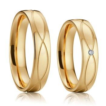 9cbad3e57035 Anillos mujer banda de boda clásica hombres anillos de amor joyería nupcial oro  Color alianzas compromiso