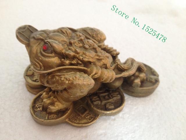 Chinesische feng shui geld frosch dreibeinigen kröte geld topf kupfer statue metallhandwerk