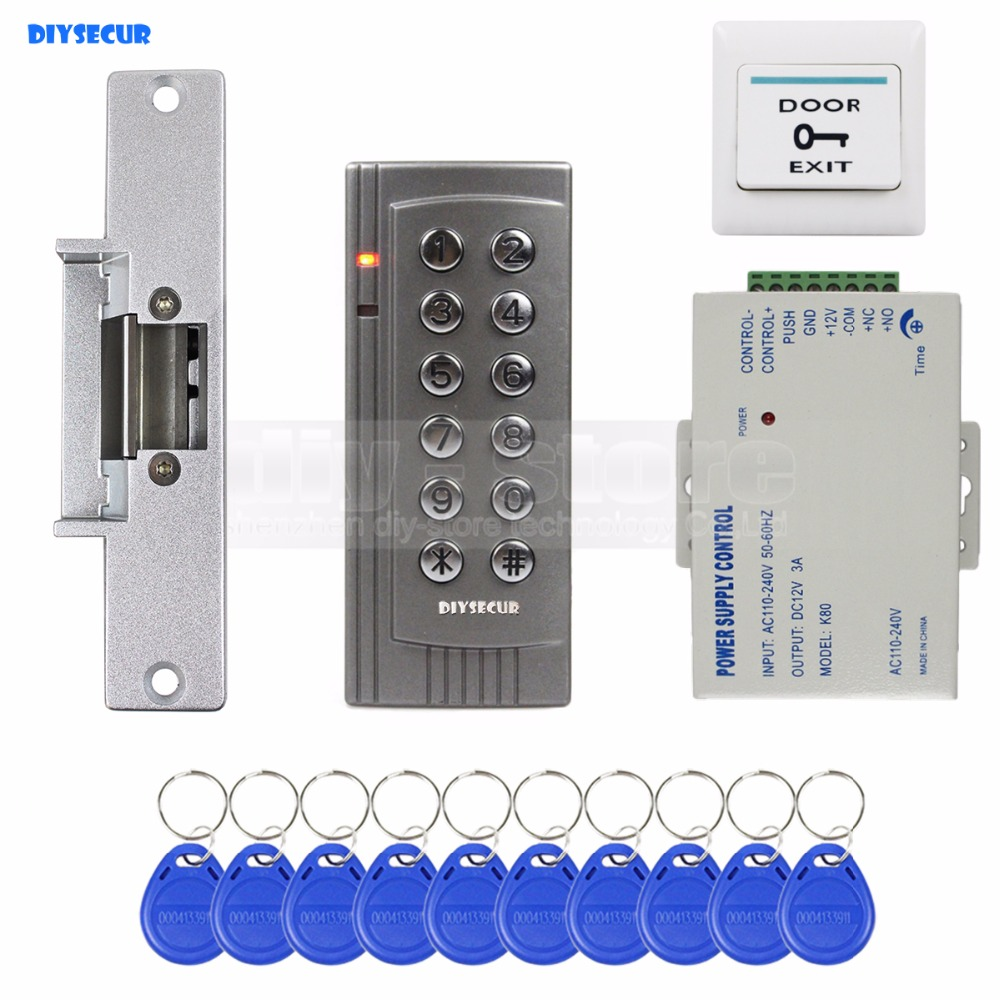 DIYSECUR DIY RFID 125KHz Reader Keypad Access Control System Security Kit + Electric Strike Door Lock + Power Supply K4 digital electric best rfid hotel electronic door lock for flat apartment