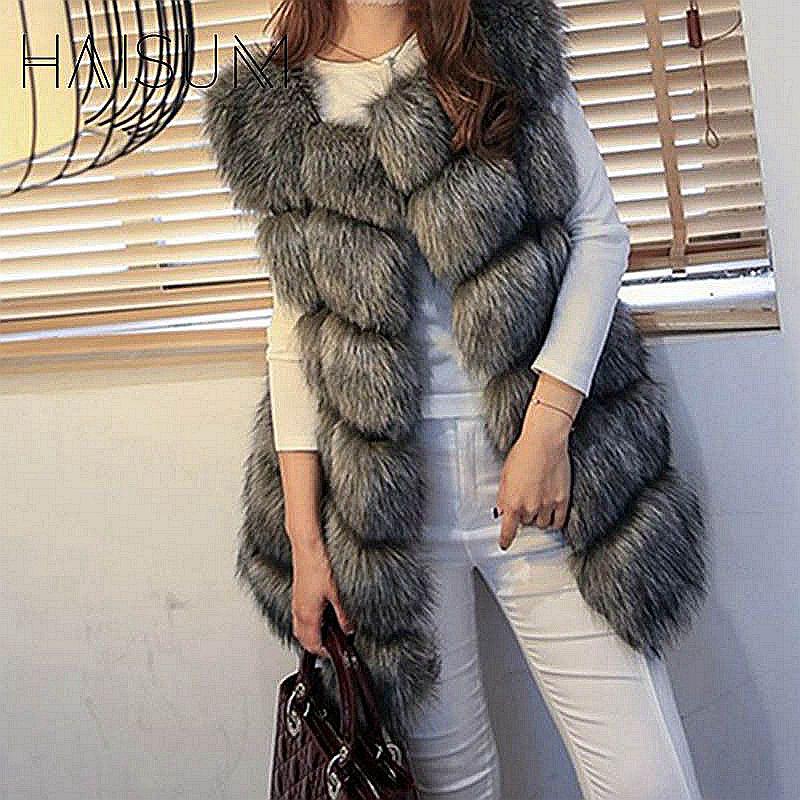 Haisum Yüksek kalite Kürk Yelek ceket Lüks Faux Fox Sıcak Kadın - Bayan Giyimi - Fotoğraf 6