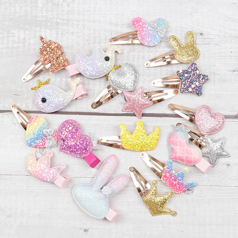 CN 6Pcs/lot Hair Accessories Cartoon Glitter Hair Clips for Girls Princess BB Hairpins Baby Korean Hair Barrettes(China)