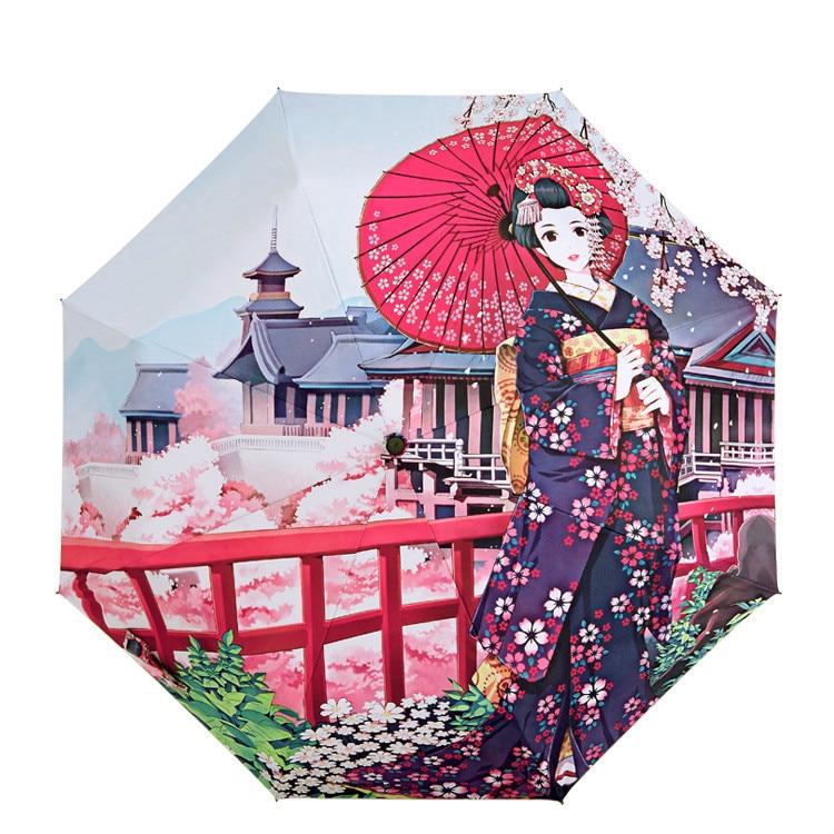 Trendmarkierung Abbildungen Der Romantische Kirschblüten Japanischen Stil Wind Ursprünglichen Design Digitaldruck Regenschirme