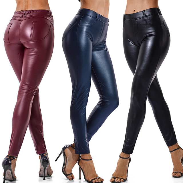 66a578f77919e Faux Leather Leggings Navy Blue Sexy Women Leggins Thin Black Leggings Back  Pocket Wine Red Leggings Stretchy Push Up Leggins