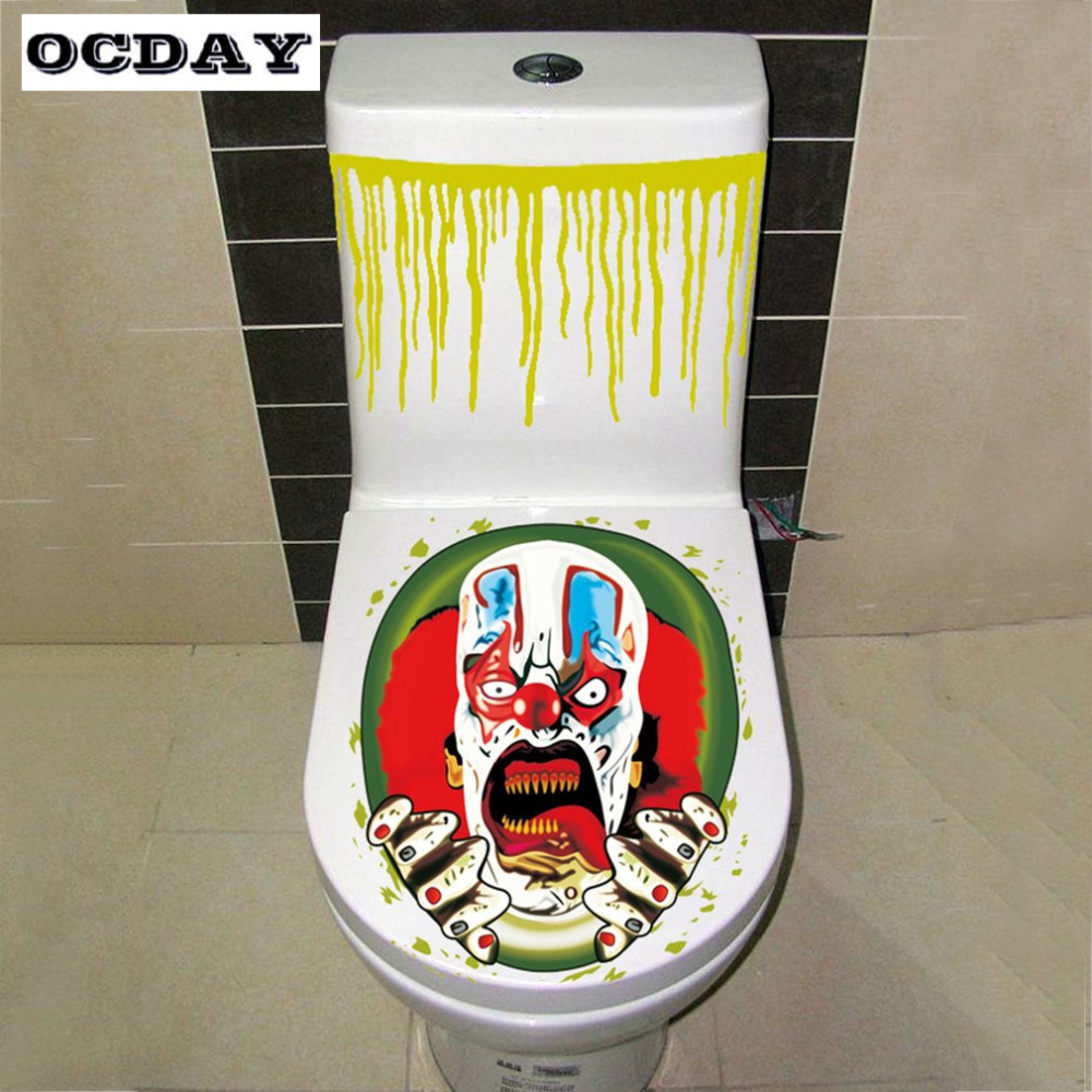 OCDAY Kids Halloween Toys Scary Toilet Seat Stickers Toilet Lid Halloween Horror Costume Party Decor Kids Baby Gag Toys Gifts