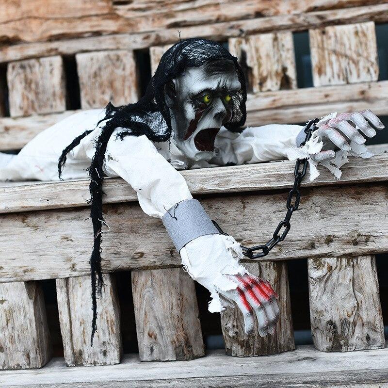 Halloween décorations chaîne de fer fantôme lumineux ramper squelette hanté maison horreur accessoires halloween aprty ornement crâne peur