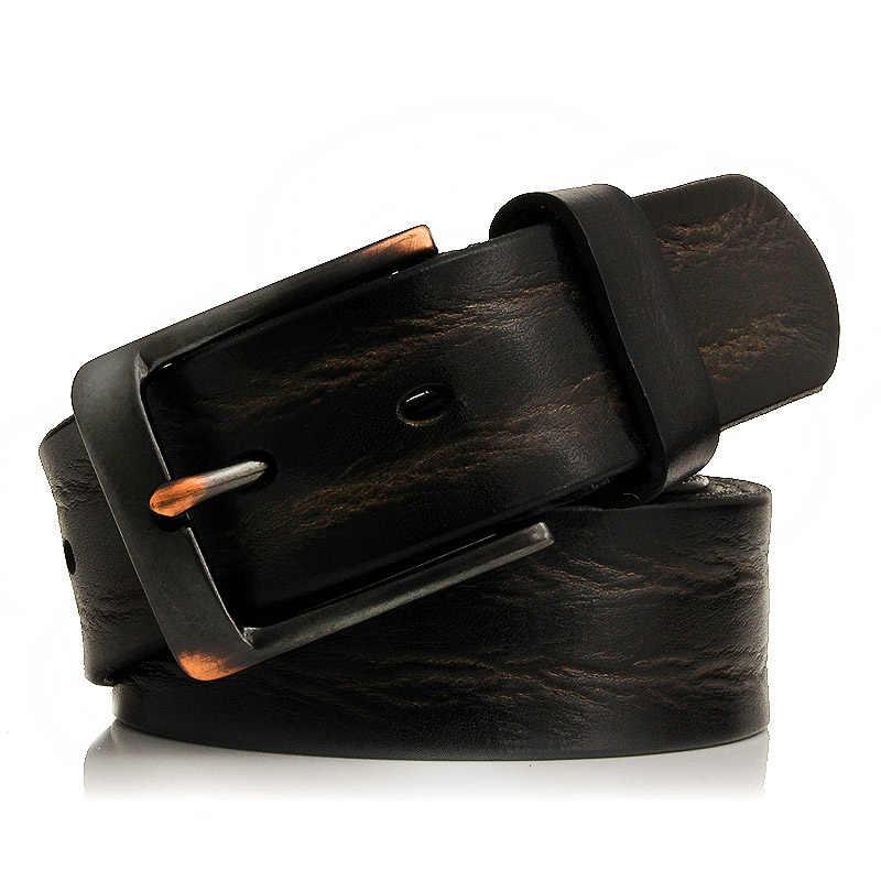 GFOHUO Nieuwe Top Echt Lederen Riemen Mannen Luxe Merk Designer Hoge Kwaliteit Business Riem Mannelijke Brede Pin Gesp Voor Jeans