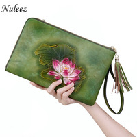 Nuleez genuine leather real cowhide bag women hand carve Chinese national style clutch bag for dinner ladies 2018 popular