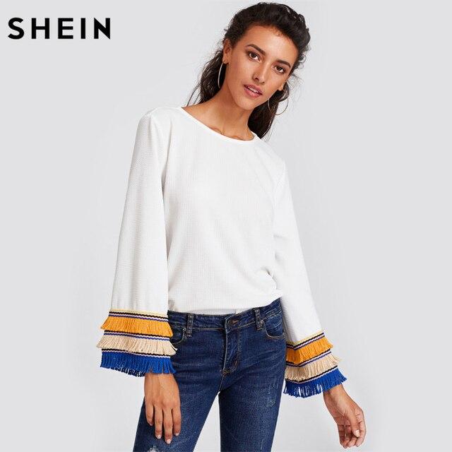 Шеин Вышивка Клейкие ленты и бахромой Bell Sleeve Textured Blouse Для женщин белая блузка Осень Для женщин S Топы с длинными рукавами
