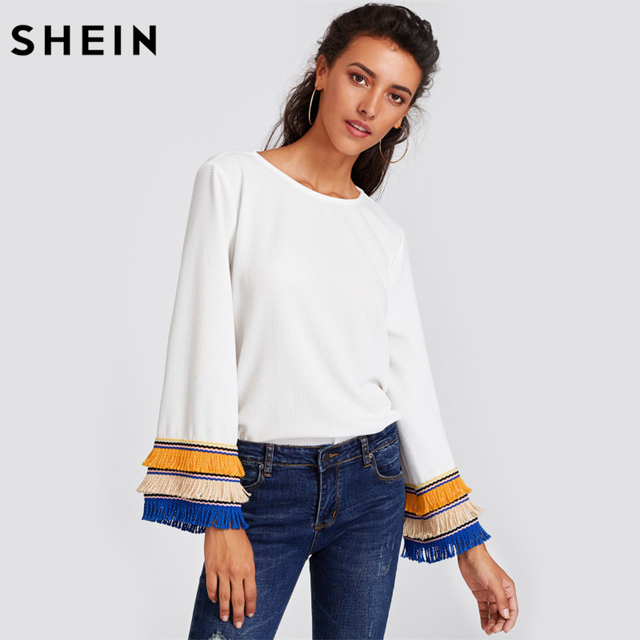 SHEIN Embroidery Tape and Fringe Bell Sleeve Textured Blouse Women White Blouse Autumn Womens Long Sleeve Tops