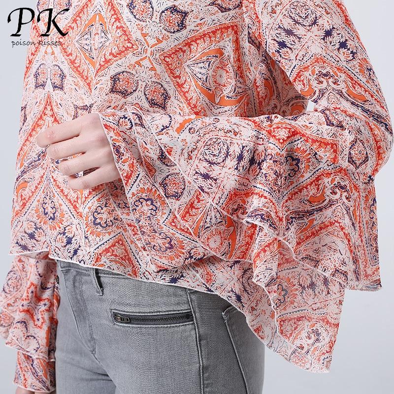 PK 2018 chiffon blouse sexy blouse shirt vrouwelijke vrouwen tops - Dameskleding - Foto 4