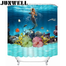13PCS SET Polyester Waterproof Fabric Shower Curtains 3D Sea World printing Bath Curtain with 12 hooks shower curtain set