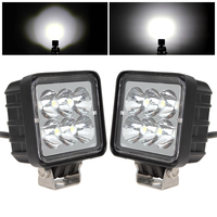 2Pcs 3 Inch 12V 24V 1530LM 18W Waterproof Square LED Car Work Light For Motorcycle Tractor