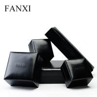 FANXI Free Shipping Black High Quality Leather PU Jewelry Box Ring Necklace Bracelet Box Jewelry Package